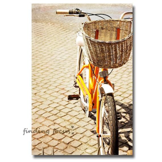 Bicycle Photography, Tangerine Orange Bike Photo, Nostalgic Vintage Wicker Basket, Beach Cruiser Cobblestone Road Biking Journey Cyclist Art