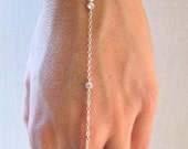 slave bracelet - hand chain // sterling silver chain and 3 tiny cz cubic zirconia diamonds ring chain bracelet