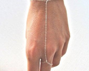 slave bracelet - hand chain // delicate sterling silver hand ring bracelet