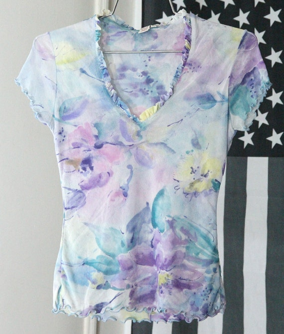 s a l e / / / Sheer Stretchy Mesh Pastel Floral Watercolor V-Neck Shirt / / / s a l e