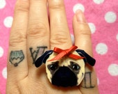 Cute Acrylic Pug Dog With Red Ribbon Bow Ring
