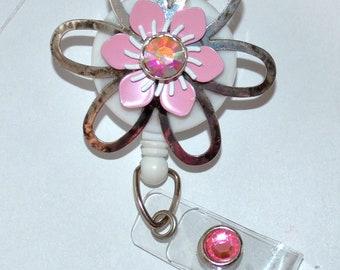 Metal and pink flower Badge Cover