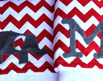 Chevron Elephant Blanket With Monogram, Red Chevron Elephant Blanket, Monogrammed Chevron Blanket