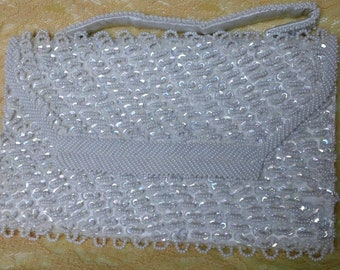 Vintage Handmade in Hong Kong Clutch White Glass Beads and Sequins
