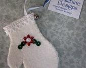 3 inch Mini White Beaded Felt Mitten Ornament