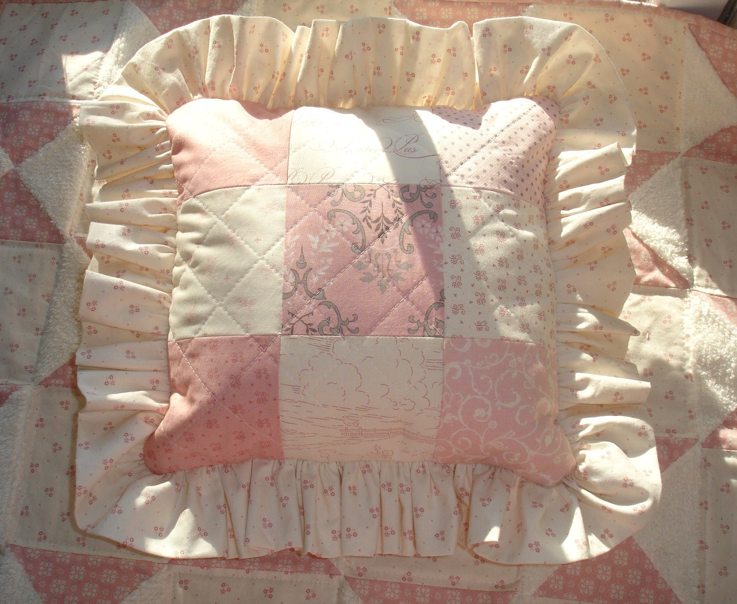 Shabby Chic Pillow Case Country French Pink Cream by KeriQuilts