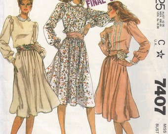 McCall's 80s Fashion Sewing Pattern Loose Fit Long Sleeve Dress High Neck Puff Shoulders Sash Waist Bust 30