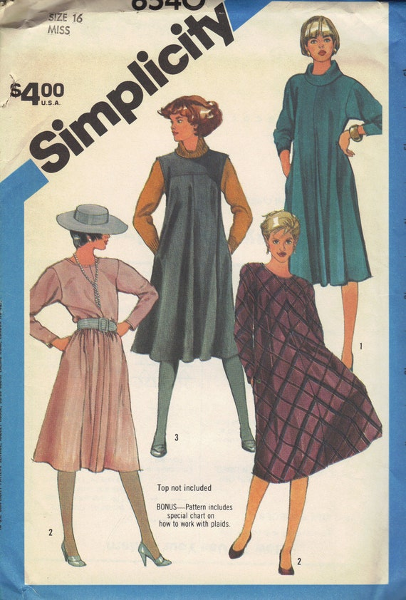 Simplicity Sewing Pattern 80s Tent Dress Loose Fit Plus Size Long Sleeves Cowl Neck Collar Sleeveless Jumper Bust 38 Uncut FF