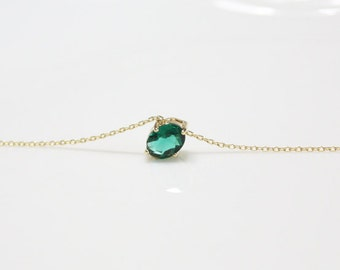 birthstone necklace, Emerald pendant necklace, birthstone of May, rose gold plating, long necklace