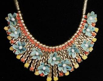 SEA SHELL Embellished Bib Jewelry NECKLACE w/Blue Chiton Scale Flowers, Yellow Snails and Vintage Dyed Orange Pikaki Shells