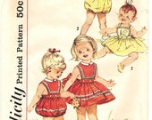 Simplicity 3986 Photocopy of Vintage 60s Super Cute Toddler Girls Romper with Two Tops and Skirt - Applique Transfer - Sewing Pattern Size 1