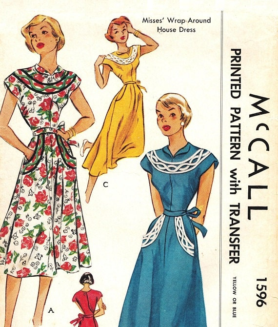 """McCall 1596 Vintage 50s Sensational Wrap Around """"House"""" Dress Embroidery Transfer - Cap Sleeves - Sewing Pattern Size 10 12 Bust  30"""