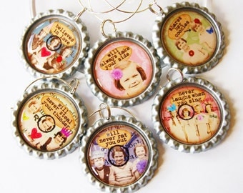 Funny Wine Charms, Sassy Women, Wine Glass Charms, Wine Charms, Humor, retro prints, ladies wine charms, ladies night, Friends