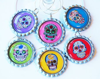 Sugar Skull, Wine Glass Charms, Wine Charms, barware, Sugar Skull charms, bright colors (1515)