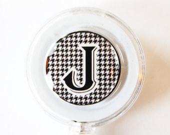 ID Badge Holder, Custom, Personalized, Monogram, Retractable id, Badge clip, black white, houndstooth (1719)