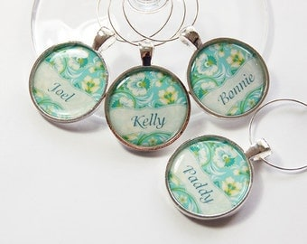 Custom Wine Charm, Personalized, Wine Charms, Wine Glass Charms, silver plated, barware, entertaining, table setting, blue, teal (2718)