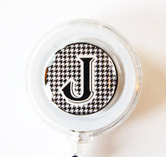 ID Badge Holder, Custom, Personalized, Monogram, Retractable id, Badge clip, black white, houndstooth (1719)