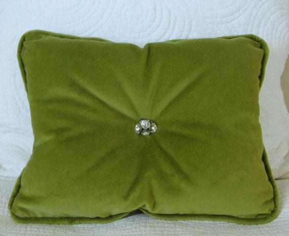 Velvet throw pillow with crystal buttons and piping olive