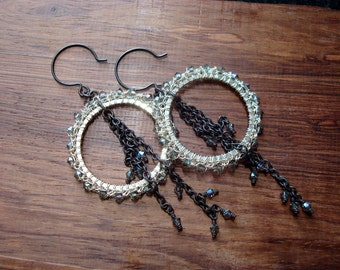 Crocheted Wire Earrings Lightness Circles Dark Modern Dangle Earrings Sterling Silver Swarovski Crystals Oxidized Sterling Chains