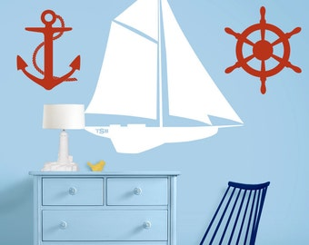 Set of 3 Sailing / Nautical Nursery Decals - Sailboat, Ships Wheel and Anchor Art