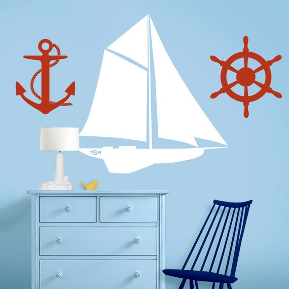 set of 3 sailing nautical nursery decals sailboat ships wheel and. Black Bedroom Furniture Sets. Home Design Ideas