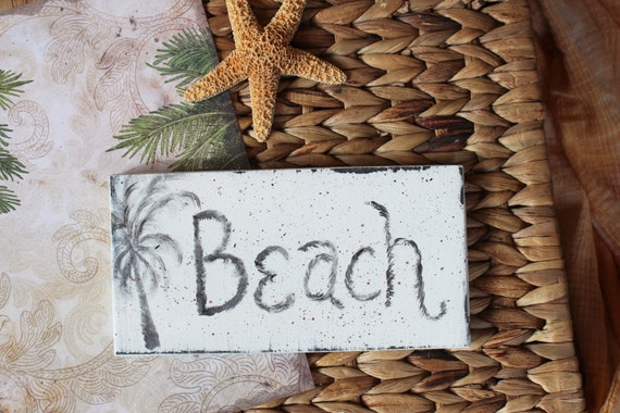 Beach Sign Wood Hand Painted Black and White Palm Tree