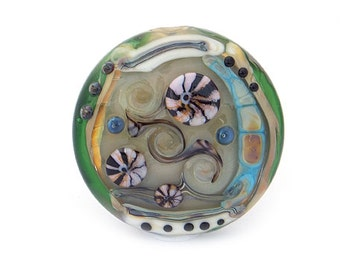 Evolution Bead - Large lentil shaped lampwork glass focal
