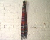 Wool Scarf - Color Block - Red Blue Stripes - Camp Blanket