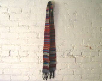 SALE - Wool Scarf - Color Block - Red Blue Stripes - Camp Blanket