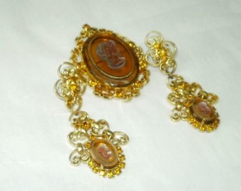 Very Large Celebrity NY Cameo Brooch Earrings Set with Pressed Cameos in Gold Tone Filigree Settings