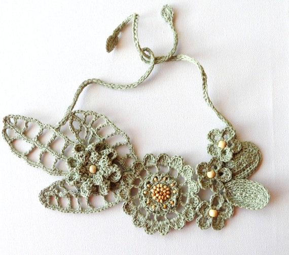 Crochet Linen Necklace - Statement Necklace - Choker