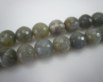 labradorite faceted round bead 8mm 15 inch strand