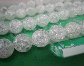 stone bead,cracked Rock Crystal,round 12mm,15 inch