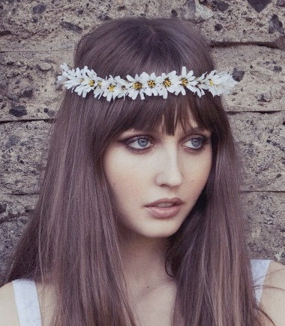 Daisy Chain Flower crown, flower headband, Daisy headband, coachella flower crown,wedding crown, bridal crown,festival crown