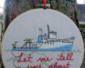 Wes Anderson The Life Aquatic Hand Embroidered Hoop Art