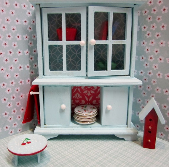 Miniature dollhouse 1:12 scale shabby/country/cottage/vintage hutch in aqua and red with red towel