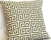 Grey Decorative Throw Pillow Cover, Greek Key - 18x18 inch Toss Cushion Cover - Onyx Gray on Natural