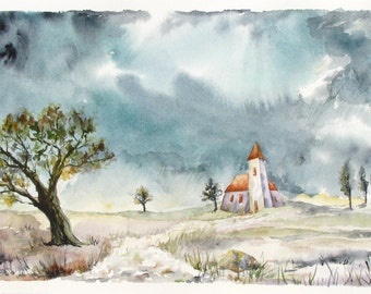 Haunted Village Storm, Fine Art Print, Medieval Church, Clouds painting