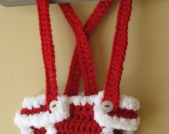 Crochet Diaper Cover Christmas Santa Elf  Holiday Photo Prop suspenders