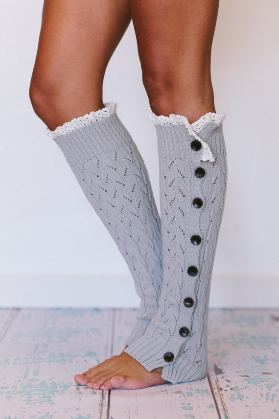 Lacy Knitted Leg Warmers Button Down Platinum Gray (LWK1-03)
