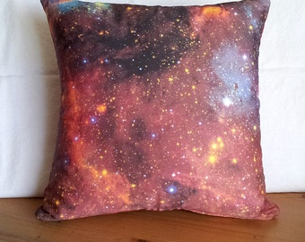 CLEARANCE: Red Starfield Galaxy Pillow Cover - NASA Space Telescope Photo on Fabric; red, orange, black
