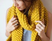 Chunky Knit Scarf in mustard yellow- 'The Kemerton Scarf'