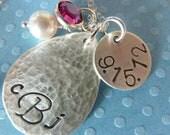 Lovestruck Monogrammed Teardrop Hand Stamped Sterling Silver Anniversary Necklace