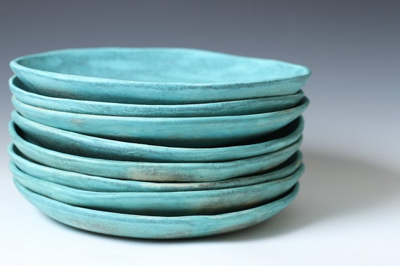 8 5 Matte Turquoise Stoneware Ceramic Shallow Bowls