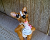 Dog Terrier mutt Sculpture with a sundae in a cup. Pet Lovers Gift