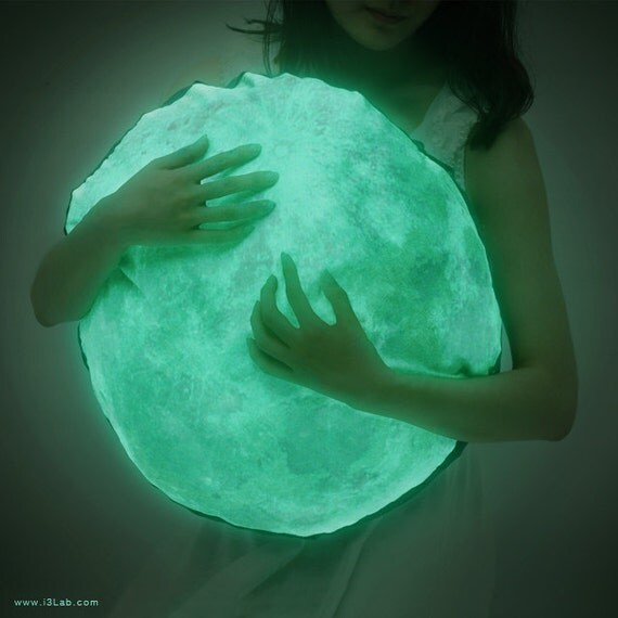 Sale! 33% off / Moonlight hug pillow / NOCTURN BY MOONLIGHT ( glow in the dark moon cushion )