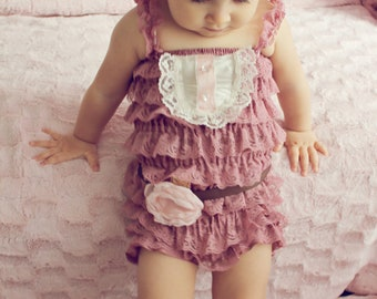 Lace Flower Girl Outfit..Rustic Flower Girl Petti Romper..baby girl petti romper...Dusty rose petti romper..photography prop...tea party