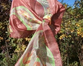 Fallen Leaves and Fern Paisley - Hand Painted Long Silk Scarf in Old Rose Pink, Pumpkin Orange, Lime Green, Antelope Brown, and Yellow