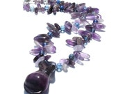Rainbow Flourite and Amethyst Goddess Necklace- OOAK, Holiday shopping, gifts under 50