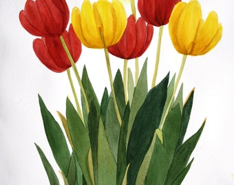 "Red and Yellow Tulip Bunch Watercolor Original by Wanda""s Watercolor""s Reproduction"